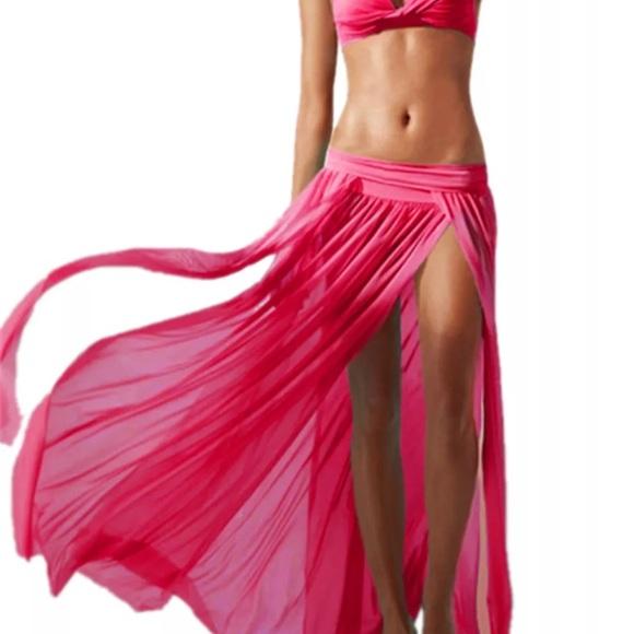 Fancy Girls Bling Other - PINK sheer gauze Bikini cover up skirt sexy spilt